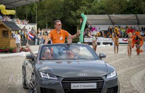 Vanwege Aken konden niet alle Nederlandse springruiters naar Ermelo komen. Jeroen Dubbeldam (achter het stuur) wel. Foto: Arnd.nl/Lynn van Woudenbergh